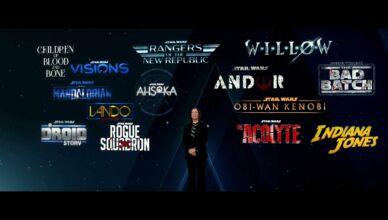 A Lucasfilm e a Disney anunciam diversos projetos para o cinema e o serviço de streaming.